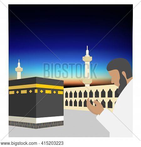 Man Is Praying Near The Kaaba At Dawn Before Sunrise. Mecca, Saudi Arabia. Pilgrimage Hajj, Ramadan