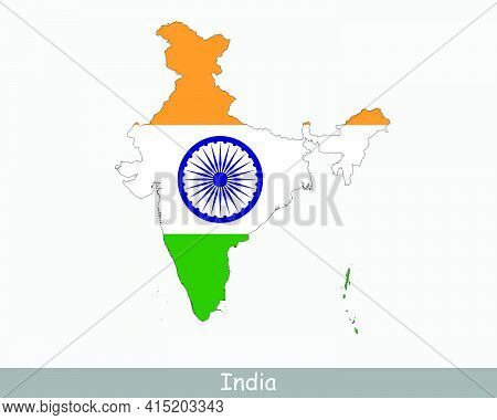 India Map Flag. Map Of The Republic Of India With The Indian National Flag Isolated On White Backgro