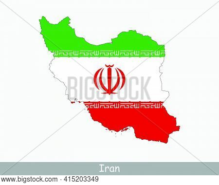 Iran Map Flag. Map Of The Islamic Republic Of Iran With The Iranian National Flag Isolated On White