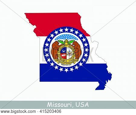 Missouri Map Flag. Map Of Mo, Usa With The State Flag Isolated On White Background. United States, A