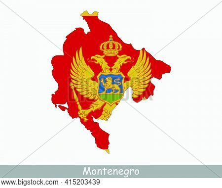 Montenegro Map Flag. Map Of Montenegro With The Montenegrin National Flag Isolated On White Backgrou