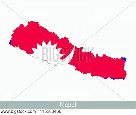Nepal Flag Map. Map Of The Federal Democratic Republic Of Nepal With The Nepalese National Flag Isol