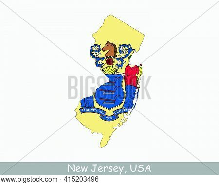 New Jersey Map Flag. Map Of Nj, Usa With The State Flag Isolated On White Background. United States,