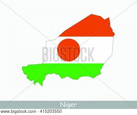 Niger Flag Map. Map Of The Republic Of The Niger With The Nigerien National Flag Isolated On White B