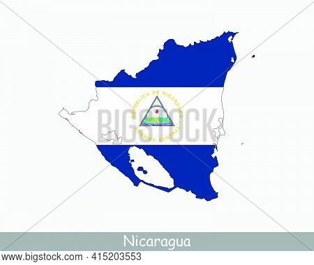 Nicaragua Flag Map. Map Of The Republic Of Nicaragua With The Nicaraguan National Flag Isolated On W
