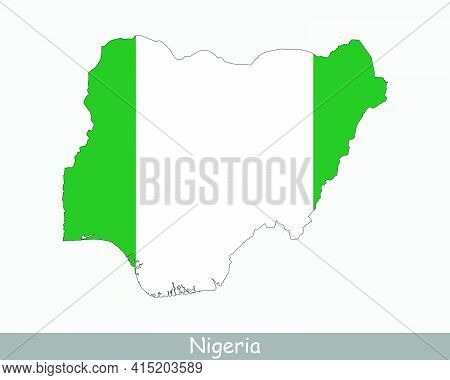 Nigeria Flag Map. Map Of The Federal Republic Of Nigeria With The Nigerian National Flag Isolated On