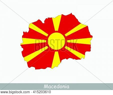 North Macedonia Map Flag. Map Of The Republic Of North Macedonia With The Macedonian National Flag I