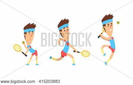 Male Tennis Player Character Set, Athlete In Sports Uniform Playing Tennis Cartoon Vector Illustrati