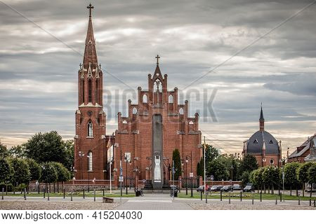 Rokiskis, Lithuania - July 16, 2017: Church Of St Matthew The Apostle In Nepriklausomybes Square Of