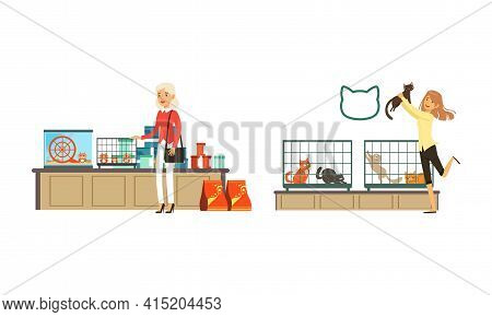 People Shopping In Pet Shop Set, Visitors Choosing And Buying Their Pets Vector Illustration