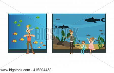 People Visiting Oceanarium, Visitors Watching Sea Animals At Excursion Vector Illustration