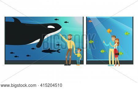 People In Oceanarium, Visitors Watching Underwater Scenery With Sea Animals At Excursion Vector Illu