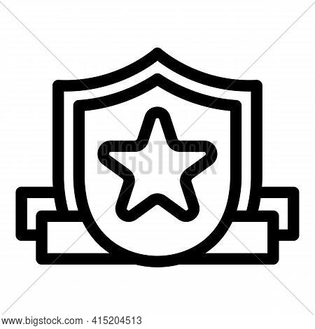 Ranking Start Shield Icon. Outline Ranking Start Shield Vector Icon For Web Design Isolated On White