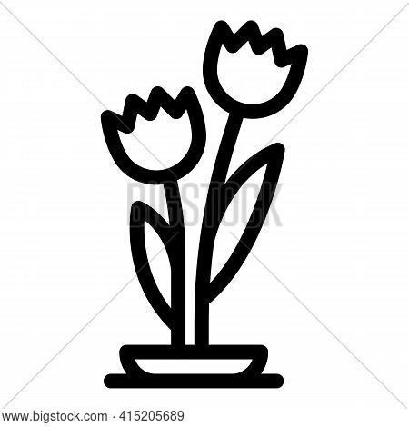 Tulips Icon. Outline Tulips Vector Icon For Web Design Isolated On White Background
