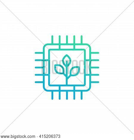 Green Technology Line Icon With A Chipset