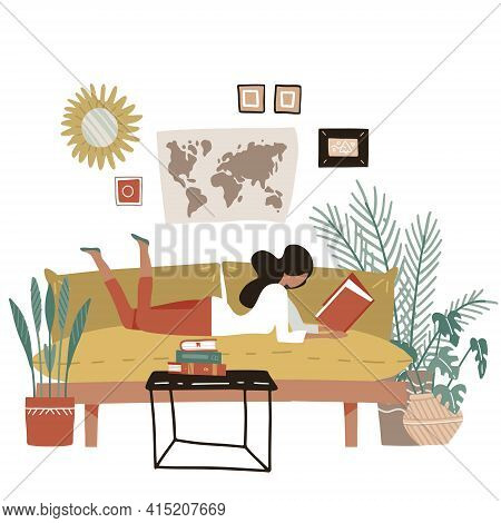 Girl Lying On A Sofa And Reading Book. Young Woman At Home Reads Magazine. Poster Motivating To Read