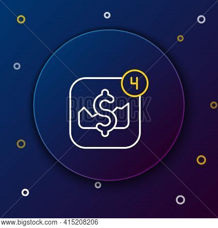 Line Mobile Stock Trading Concept Icon Isolated On Blue Background. Online Trading, Stock Market Ana