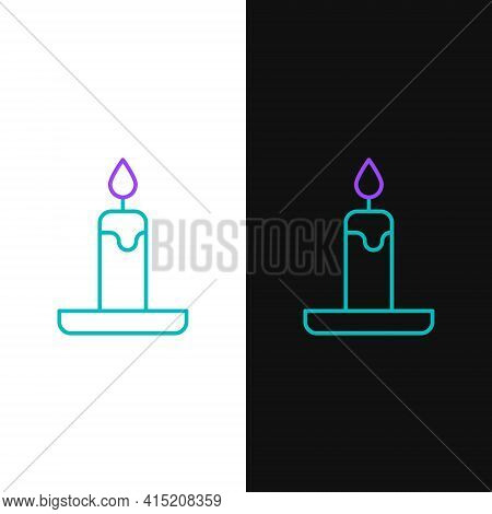 Line Burning Candle In Candlestick Icon Isolated On White And Black Background. Cylindrical Candle S