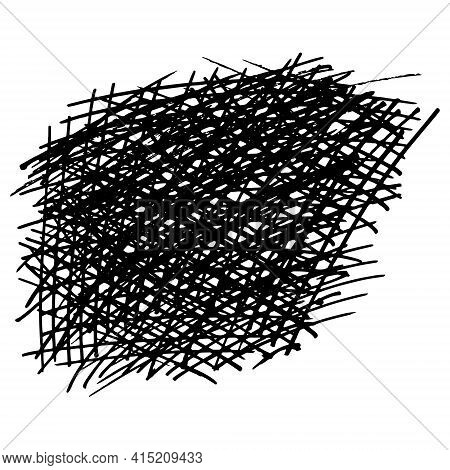 Grunge Texture. Drawn By Hand With Pen And Ink. Isolated On Red Background, Vector Illustration. Can