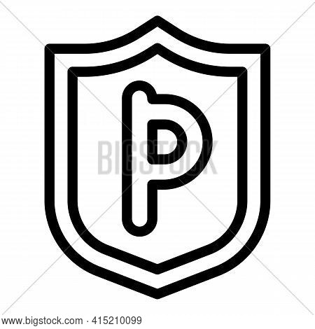 Parking Indicator Icon. Outline Parking Indicator Vector Icon For Web Design Isolated On White Backg