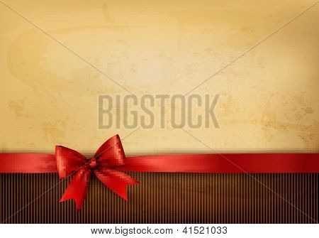 Old Background With Red Bow And Ribbon. Vector