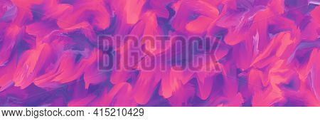 Multicolor Painted Backgrounds, Purple Brush Strokes, Panoramic Neon Texture, Fluid Paint Pattern. M
