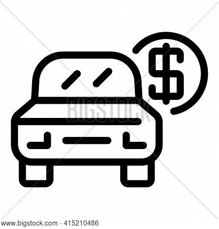 Parking Car Paid Icon. Outline Parking Car Paid Vector Icon For Web Design Isolated On White Backgro