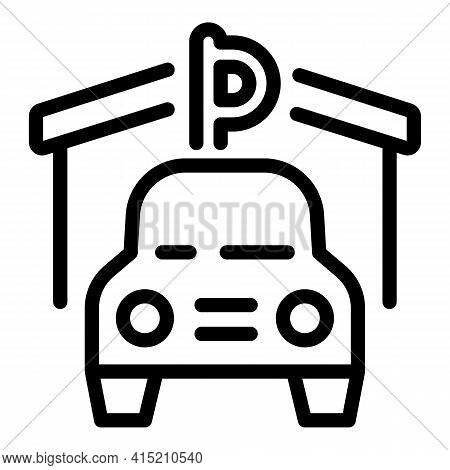 Car Parking Lot Icon. Outline Car Parking Lot Vector Icon For Web Design Isolated On White Backgroun