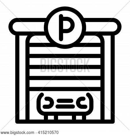 Parking Garage Icon. Outline Parking Garage Vector Icon For Web Design Isolated On White Background