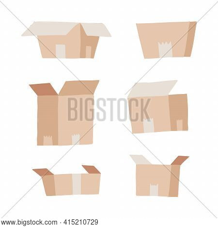 Carton Delivery Packaging Set - Open And Closed. Collection Of Paper Boxes. Flat Vector Illustration