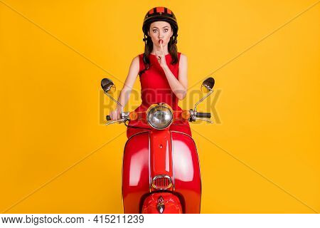 Photo Of Cute Pretty Lady Wear Red Dress Sitting Retro Bike Finger Mouth Ask Not Tell Secrets Isolat