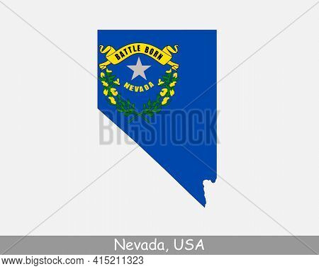 Nevada Map Flag. Map Of Nv, Usa With The State Flag Isolated On White Background. United States, Ame