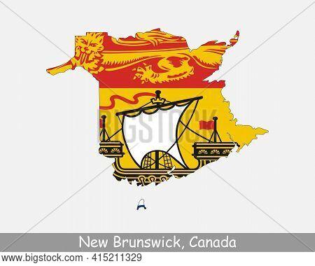 New Brunswick Map Flag. Map Of New Brunswick Flag Isolated On White Background. Canadian Province, C
