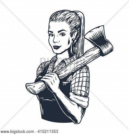 Lumberjack Woman With Axe. Female Axeman For Logo