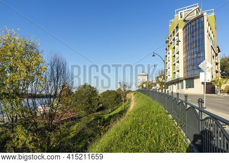 Ruse, Bulgaria - November 2, 2020: Panorama Of Costal Street At The Center Of City Of Ruse, Bulgaria