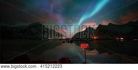 Aurora, n?rth light Skagsanden  beach, Lofoten islands, Norway.