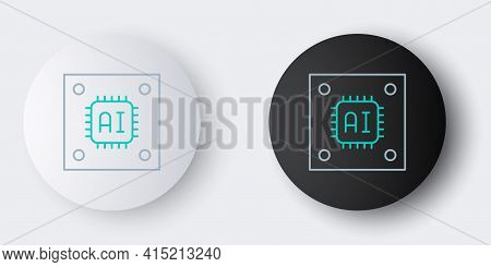 Line Computer Processor With Microcircuits Cpu Icon Isolated On Grey Background. Chip Or Cpu With Ci