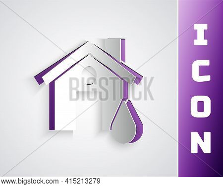 Paper Cut House Flood Icon Isolated On Grey Background. Home Flooding Under Water. Insurance Concept