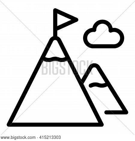 Mountain Peak Icon. Outline Mountain Peak Vector Icon For Web Design Isolated On White Background
