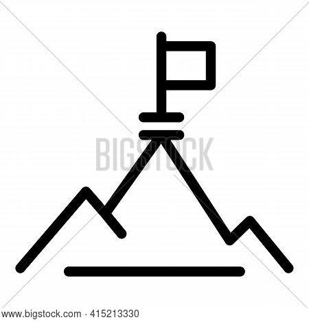 Goal Peak Icon. Outline Goal Peak Vector Icon For Web Design Isolated On White Background