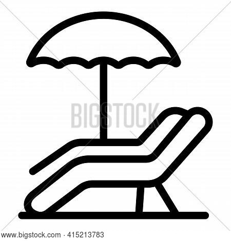 Lounge Sunbed Icon. Outline Lounge Sunbed Vector Icon For Web Design Isolated On White Background