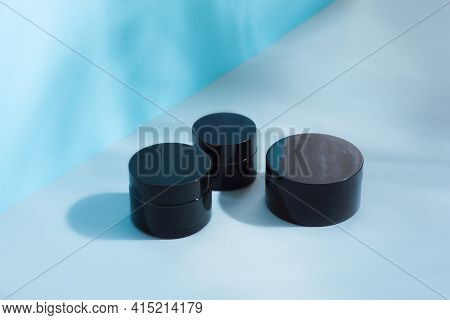 Set Of Cosmetic Jars For Cream Of Black Color, Different Sizes, Clean, White Without Inscriptions, O