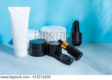 Set Of Cosmetic Packages Black And White, Clean, Black Without Labels, Tube Cream, Lipstick, Nail Po
