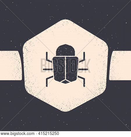 Grunge System Bug Concept Icon Isolated On Grey Background. Code Bug Concept. Bug In The System. Bug