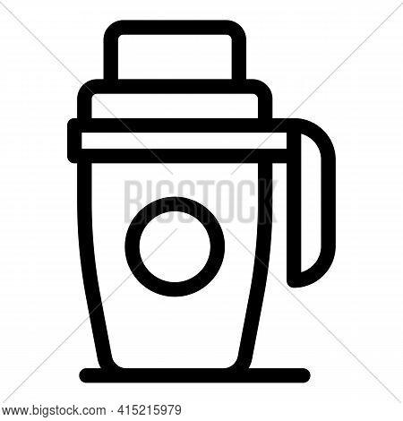 Reusable Thermo Mug Icon. Outline Reusable Thermo Mug Vector Icon For Web Design Isolated On White B