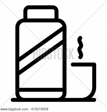 Plastic Thermo Bottle Icon. Outline Plastic Thermo Bottle Vector Icon For Web Design Isolated On Whi