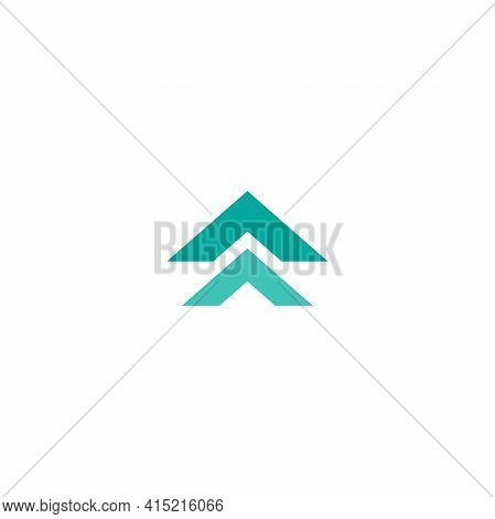 Blue Arrows Up Icon. Swipe Up Button. Isolated On White. Upload, Scroll Icon. Upgrade, Speed Up Sign