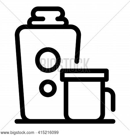 Thermo Drink Cup Icon. Outline Thermo Drink Cup Vector Icon For Web Design Isolated On White Backgro