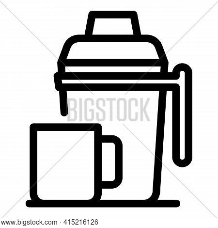 Steel Thermos Icon. Outline Steel Thermos Vector Icon For Web Design Isolated On White Background