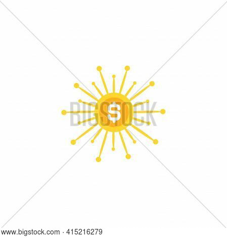 Golden Dollar Coin With Gold Rays. Shining Money Sun. Flat Icon Isolated On White. New Business Idea